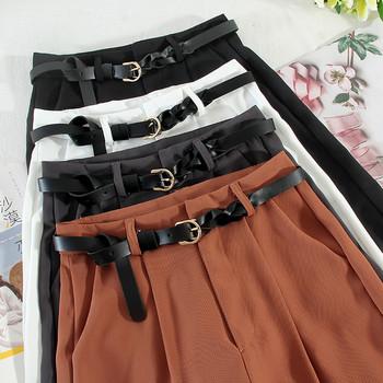 Дамски 3/4 панталони с колан и джобове
