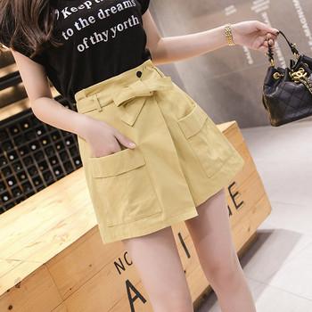 Модерен дамски къс панталон с джобове и висока талия