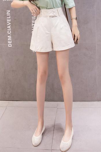 Ежедневни дамски къси панталони с висока талия и копчета