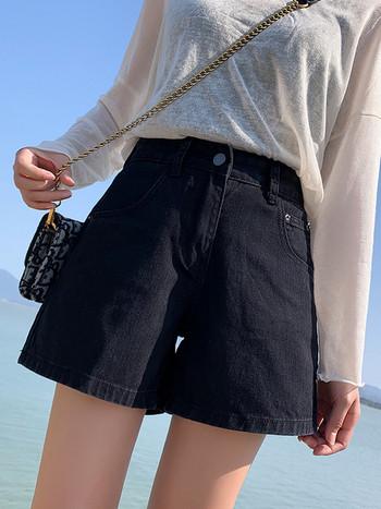 Къси дънкови панталони с висока талия - широк  модел