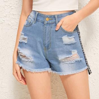 Ежедневни дамски къси панталони с кант и висока талия в син цвят