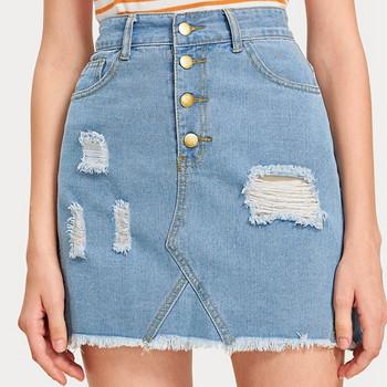 Модерна дамска къса дънкова пола с висока талия и разкъсани мотиви