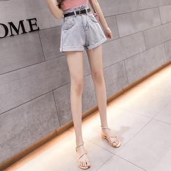 Дамски къси дънки с колан - висока талия