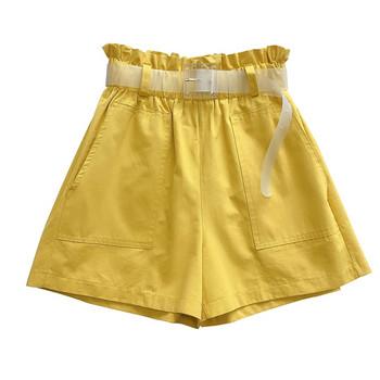 НОВ модел дамски къси панталони с висока талия и колан