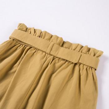 Ежедневни  дамски къси панталони с висока талия и джоб