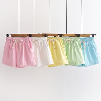 Ежедневни  дамски къси панталони с връзки и висока талия