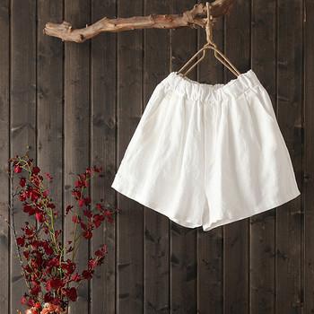 Ежедневни дамски къси панталони с висока талия изчистен модел с джобове