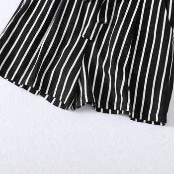 Ежедневен къс раиран панталон с връзки на талията