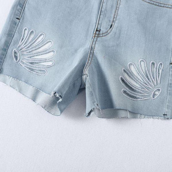 Къси дънкови панталони с изрязани части в син цвят