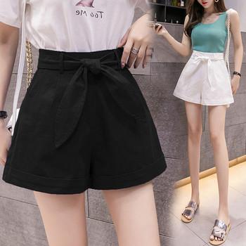 Дамски ежедневни къси панталони с висока талия и панделка