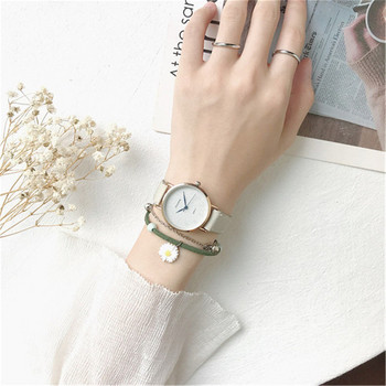 Дамски ежедневен часовник с кожена каишка и гривна