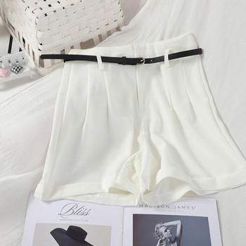Дамски къси панталони  с висока талия и колан