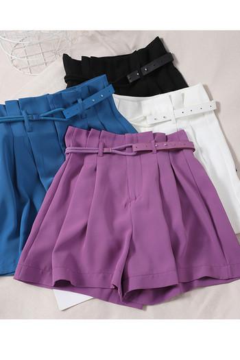 Ежедневни дамски къси  панталони с висока талия и колан