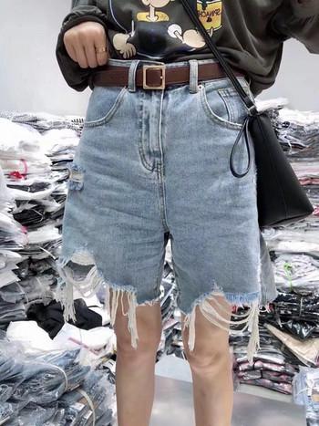 Ежедневни дамски къси дънки с разкъсан десен и джобове