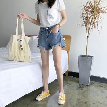 Дамски ежедневни къси дънки с джобове и разкъсан десен