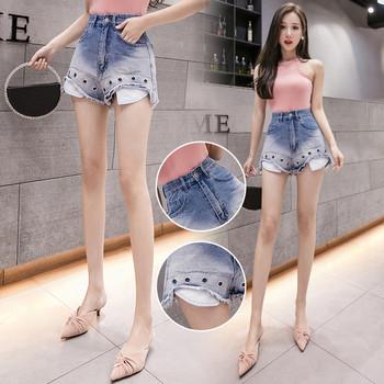 Нов модел дамски къси дънкови панталони с пулове в син цвят