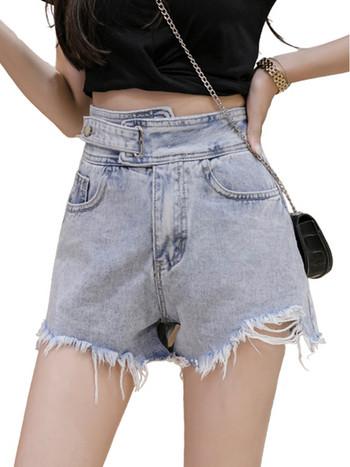 Ежедневни дамски къси панталони с разкъсан десен и джобове