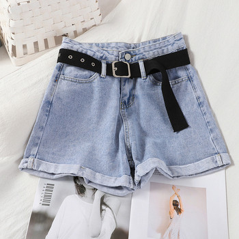 Къси дамски дънкови панталони с колан