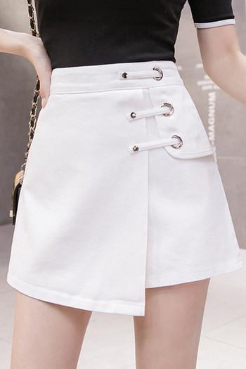 Ежедневни къси дамски панталони тип пола с висока талия - асиметричен модел