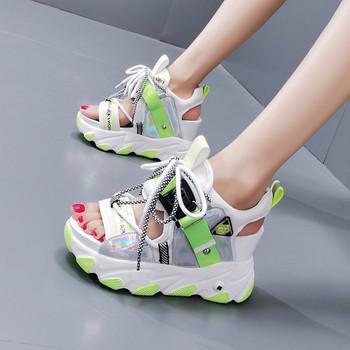 Ежедневни дамски сандали с връзки и дебела подметка