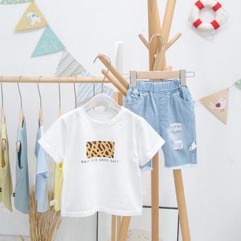 Модерна детска тениска с щампа и къс ръкав за момчета
