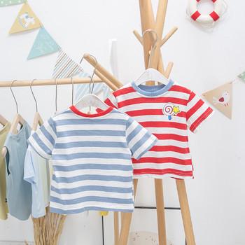 Ежедневна детска раирана тениска с обло деколте