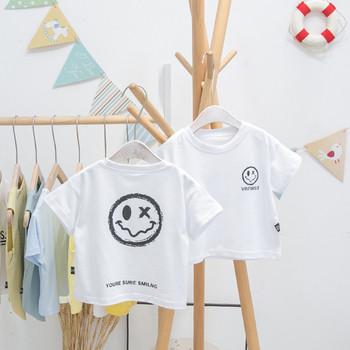 Нов модел детска тениска за момчета в бял цвят
