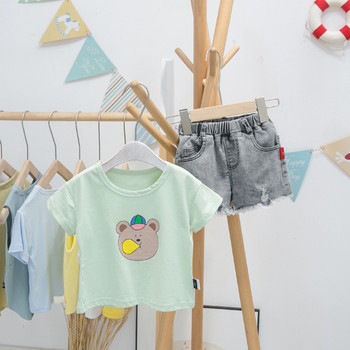 Детска ежедневна тениска с апликация мече