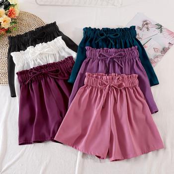 Къси дамски ежедневни панталони с висока талия и връзки