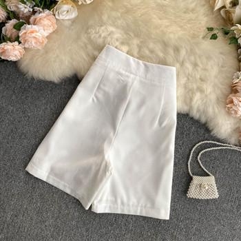 Къси дамски панталони с висока талия и надпис
