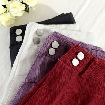 Къси дамски дънкови панталони с висока талия и копчета