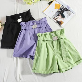Модерни дамски къси панталони с висока талия и колан - широк модел