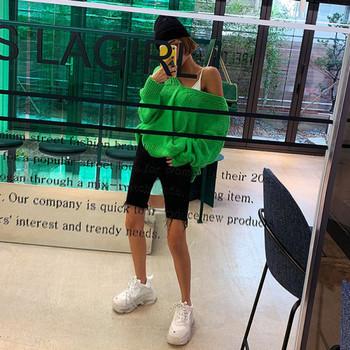 Дамски еластични дънки с висока талия и дължина над коляното