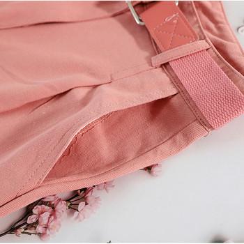Цветни дамски къси панталони с висока талия и колан