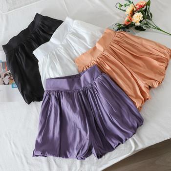 Плисирани дамски къси панталони с висока талия
