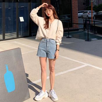 Ретро модел дамски къси дънки с висока талия