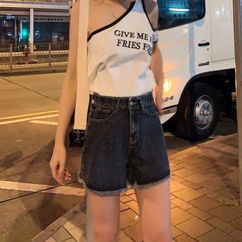 Дамски летни къси дънки с висока талия