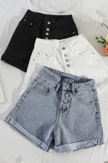 Ежедневни дамски къси дънки с висока талия и копчета - широк модел