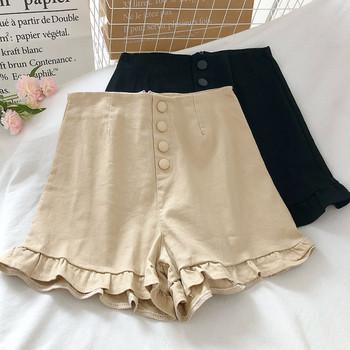 Къси дамски панталони с висока талия и къдри