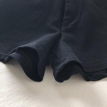 Черни дамски къси панталони с висока талия