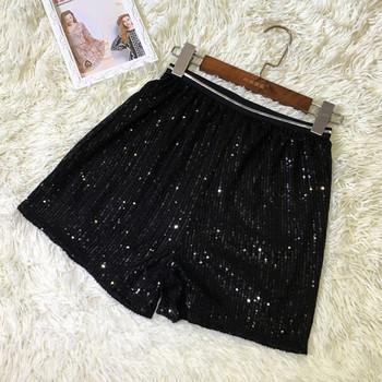 Модерни къси дамски панталони с висока талия и пайети
