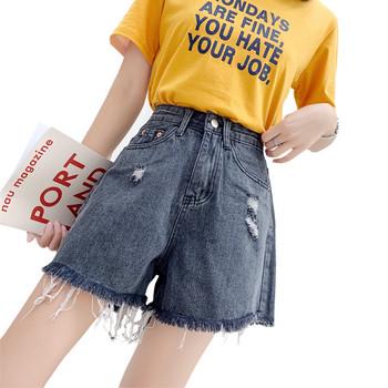 Къси дамски панталони широк модел с висока талия и скъсани мотиви