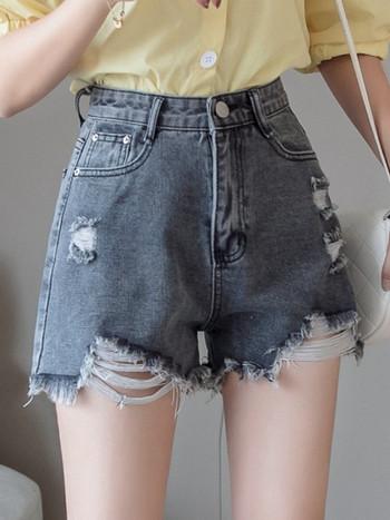 Дънкови къси панталони с висока талия и скъсани мотиви