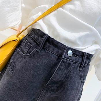 Нов модел дънкови къси панталони с висока талия и скъсани мотиви