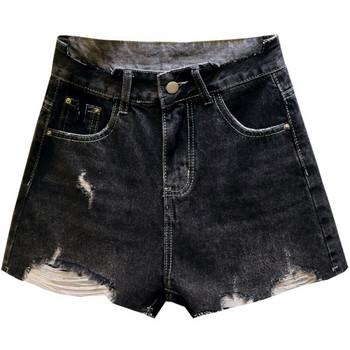 Модерни къси панталони със скъсани мотиви и висока талия