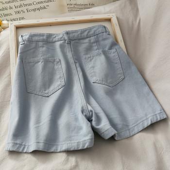 Къси дамски дънкови панталони с висока талия  - широк модел