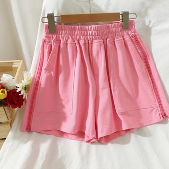 Ежедневни дамски къси панталони с еластична талия и цип