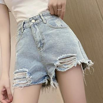 Къси дамски дънкови панталони със скъсани мотиви и висока талия