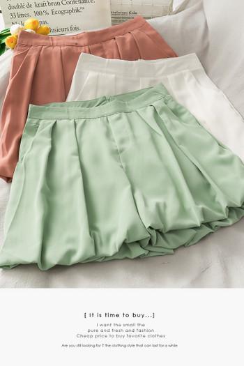 Къси дамски панталони тип пола с висока талия