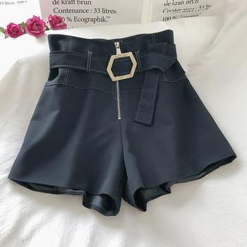 Модерен дамски панталон широк модел с колан и цип